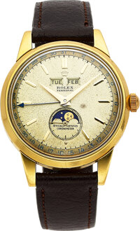 "Rolex, Rare ""Padellone"" Yellow Gold Triple Calendar Wristwatch With Moon Phases, circa 1950"