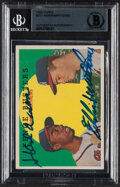 """Autographs:Sports Cards, Signed 1959 Topps Hank Aaron/Eddie Mathews """"Fence Busters"""" #212 Beckett Authentic...."""