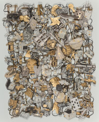 Jane Hammond (b. 1950) Loose Tapestry of Daily Life (Diamond Ring), 2016 Sumi ink and gold leaf on a