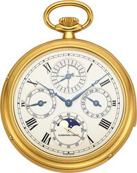 Audemars Piguet, Very Fine Minute Repeating Perpetual Calendar Pocket Watch with Phases Of The Moon, circa 1980's