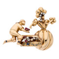 Estate Jewelry:Brooches - Pins, Retro Diamond, Ruby, Sapphire, Gold Brooch, French. ...