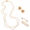 Estate Jewelry:Suites, Cultured Pearl, Gold Jewelry Lot. ... (Total: 4 Items)