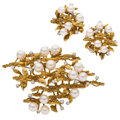 Estate Jewelry:Suites, Cultured Pearl, Diamond, Gold Jewelry Suite. ... (Total: 2 Items)