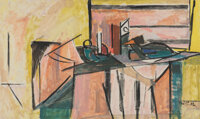 Karl Knaths (American, 1891-1971) Candlestick, 1957 Oil on canvas 30 x 50 inches (76.2 x 127 cm)<