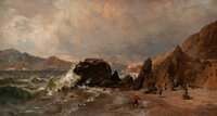 Thomas Hill (American, 1829-1908) A View of Fort Point from Baker Beach, San Francisco Oil on canvas