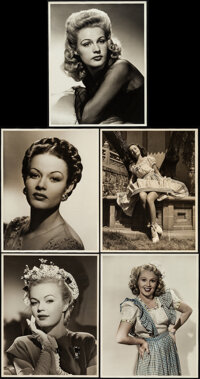 """Jeanne Crain and Other Lot (c. 1940s). Very Fine-. Portrait Photos (5) (11"""" X 14""""). Photo. ... (Total: 5 Items..."""