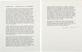Autographs:U.S. Presidents, [John F. Kennedy]. Malcolm Perry Typed Signed Statement.