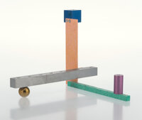 Peter Shire (b. 1947) Menorah 1, 1988 Anodized and enameled aluminum 11 x 12 x 9 inches (27.9 x 3