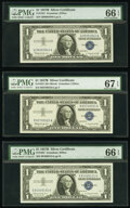Small Size:Silver Certificates, Fr. 1621 $1 1957B Silver Certificates. Q-A, R-A, and S-A Blocks. PMG Graded Gem Uncirculated 66 EPQ-Superb Gem Unc 67 EPQ.. ... (Total: 3 notes)