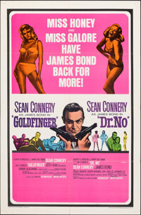 "Goldfinger/Dr. No Combo (United Artists, R-1966). Folded, Very Fine-. One Sheet (27"" X 41""). James Bond"
