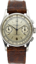 Timepieces:Wristwatch, Patek Philippe, A Fine And Rare Stainless Steel Chronograph For E. Gübelin Lucerne, Ref. 130, circa 1940. ...
