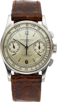 Patek Philippe, A Fine And Rare Stainless Steel Chronograph For E. Gübelin Lucerne, Ref. 130, circa 1940