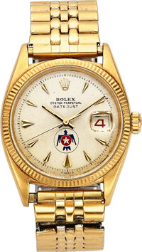 Rolex, An Exceedingly Rare Yellow Gold Wristwatch Presented To And Owned By Thunderbird Pilot Herman E. Griffin, Ref. 66...