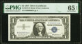 Small Size:Silver Certificates, Low Serial Number 34 Fr. 1619 $1 1957 Silver Certificate. PMG Gem Uncirculated 65 EPQ.. ...