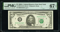 Fr. 1980-B $5 1988A Federal Reserve Note. PMG Superb Gem Unc 67 EPQ