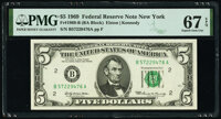 Fr. 1969-B $5 1969 Federal Reserve Note. PMG Superb Gem Unc 67 EPQ