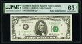 Small Size:Federal Reserve Notes, Radar Serial Number 85655658 Fr. 1970-G $5 1969A Federal Reserve Note. PMG Gem Uncirculated 65 EPQ.. ...