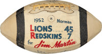 1952 Game Used & Signed Football from Lions vs Redskins (9/20) Presented to Jim Martin from The Bill Fundaro Collect...