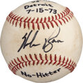 Baseball Collectibles:Balls, 1973 Nolan Ryan Game Used & Signed Second No-Hitter Baseball from The Bill Fundaro Collection....