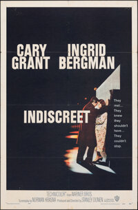 "Indiscreet (Warner Bros., 1958). Folded, Fine/Very Fine. One Sheet (27"" X 41""). Romance"