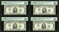 Small Size:Federal Reserve Notes, Fr. 1968-G $5 1963A Federal Reserve Notes. G-A, G-B, and G-C Blocks. PMG Graded Gem Uncirculated 65 EPQ-Gem Uncirculated 66 EP... (Total: 4 notes)