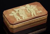 An Italian Gold-Mounted Hardstone Snuff Box, probably Naples, Italy, circa 1810 Marks: ET 3/4 x 3 x 1-3/4 inches (1.9...