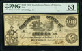 Confederate Notes:1861 Issues, T13 $100 1861 PF-4 Cr. 56 PMG About Uncirculated 53.. ...