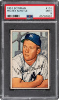 Baseball Cards:Singles (1950-1959), 1952 Bowman Mickey Mantle #101 PSA Mint 9--Only Two Superior!...