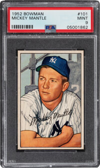 1952 Bowman Mickey Mantle #101 PSA Mint 9--Only Two Superior!