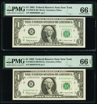 Fr. 1900-B $1 1963 Federal Reserve Notes. B-B and B-C Blocks. PMG Gem Uncirculated 66 EPQ. ... (Total: 2 notes)