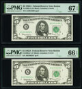 Small Size:Federal Reserve Notes, Fr. 1968-A; A* $5 1963A Federal Reserve Notes. PMG Graded Superb Gem Unc 67 EPQ; Gem Uncirculated 66 EPQ.. ... (Total: 2 notes)