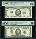Small Size:Federal Reserve Notes, Fr. 1980-H $5 1988A Federal Reserve Notes. H-A and H-B Blocks. PMG Gem Uncirculated 66 EPQ.. ... (Total: 2 notes)