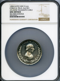 1858 Cyrus W. Field Medal, Second Reverse, Laying Atlantic Telegraph Cable, -- Reverse Rim Damage -- NGC Details. Unc. W...