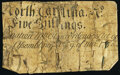 North Carolina March 9, 1754 5s Very Good