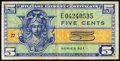 Military Payment Certificates:Series 521, Series 521 5¢ Third Printing Replacement Fine-Very Fine.. ...