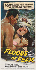 """Movie Posters:Action, Floods of Fear (Universal International, 1959). Folded, Very Fine-. Three Sheet (41"""" X 79""""). Action.. ..."""