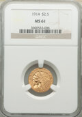 Indian Quarter Eagles: , 1914 $2 1/2 MS61 NGC. NGC Census: (1985/3675). PCGS Population: (483/2358). CDN: $500 Whsle. Bid for NGC/PCGS MS61. Mintage...