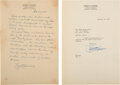 Autographs:Inventors, Ernest O. Lawrence Autograph Manuscript Signed with Signed Letter of Transmittal. ... (Total: 2 Items)