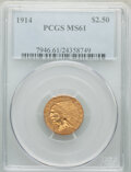 Indian Quarter Eagles: , 1914 $2 1/2 MS61 PCGS. PCGS Population: (483/2358). NGC Census: (1985/3675). CDN: $500 Whsle. Bid for NGC/PCGS MS61. Mintag...