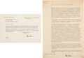 Autographs:Non-American, Otto Hahn Typed Manuscript Signed with Signed Letter of Transmittal.... (Total: 2 Items)