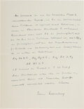 Autographs:Non-American, Werner Heisenberg Autograph Manuscript Signed with Signed Letter of Transmittal. ... (Total: 2 Items)