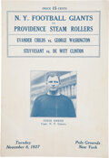 Football Collectibles:Programs, 1927 New York Giants vs. Providence Steam Roller Program....