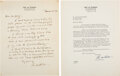Autographs:Inventors, Lee de Forest Autograph Letter Signed with Typed Letter Signed. ... (Total: 2 Items)