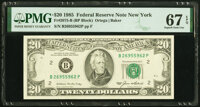 Radar Serial Number 26955962 Fr. 2075-B $20 1985 Federal Reserve Note. PMG Superb Gem Unc 67 EPQ