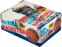 1986 Fleer Basketball Wax Box With 36 Unopened Packs - Two Packs with Michael Jordan #57 on Top!