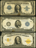 Fr. 237 $1 1923 Silver Certificate Very Good; Fr. 859c $5 1914 Federal Reserve Note Fine-Very Fine; ... (Total: 3)