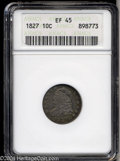 Bust Dimes: , 1827 10C XF45 ANACS. JR-6, R.2. Lilac, sea-green, and ...
