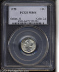Mercury Dimes: , 1928 10C MS64 PCGS. Well struck and untoned, with satiny ...