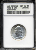 Washington Quarters: , 1932-D 25C --Scratched--ANACS. Unc Details, Net AU55. ...
