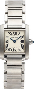 Timepieces:Wristwatch, Cartier, Lady's Steel Tank Francaise, Ref. 2384. ...